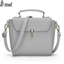 2017 PU Leather Handbags Casual Women Messenger Bags Simple Women Bags Cross Body Bags For Girls Vintage Female Tote Bag C1383KK(China)