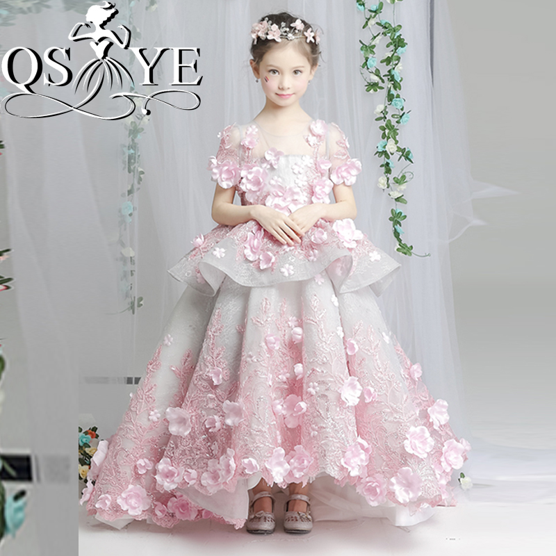 2018 Pink Vintage Arabic Princess Flower Girl Dresses for Wedding Ball Gown 3D Floral Flowers Lace Girl Communion Dress