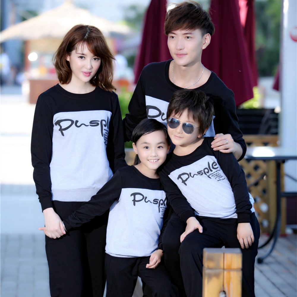 Family Clothing Letter Print Long Sleeve T-shirts+Pants Clothing Set for Father Mother Daughter/Son Children Clothes Sets, WL521<br><br>Aliexpress