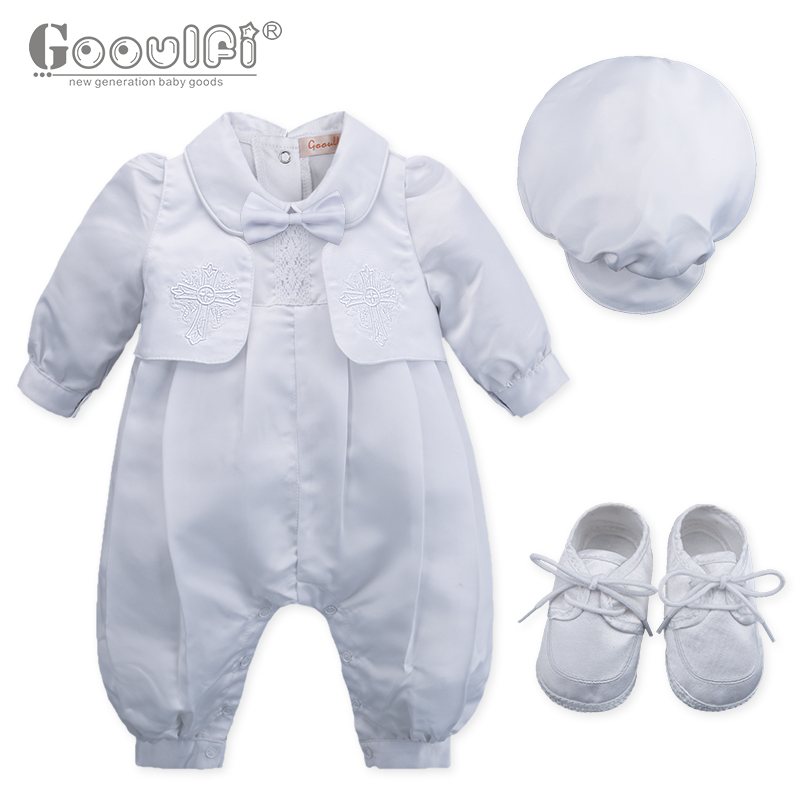 Gooulfi Baby Rompers Christening Baptism New Born Baby Clothes Set Baptism White Newborn Baby Clothes Gentleman Baby Boy Romper<br>