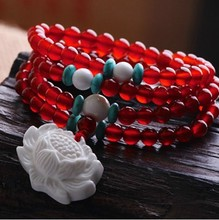 TNL602 Summer Fashion Bracelets 6/8mm 108 Natural Red Carnelian Necklace with White Conch Shell Lotus Charm for Girls