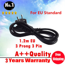 WHOLESALE Black  1.2M EU 3 Prong 2 Pin AC Laptop Power Cord Adapter Cable   FREE SHIPPING