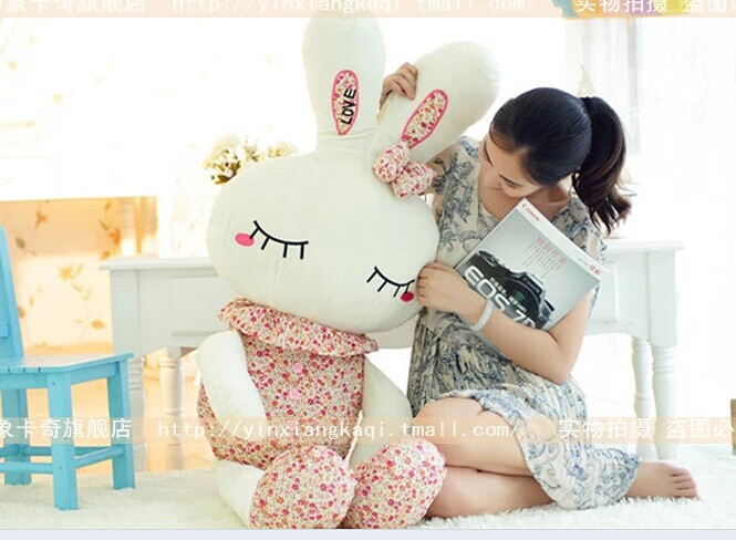 stuffed animal 120 cm cute love rabbit plush toy pink or  purple Floral love rabbit soft doll gift  w2226<br>