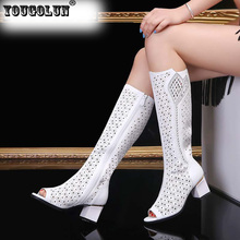 YOUGOLUN Women Summer Boots High Knee Square Heel 6.5cm Rhinestone Peep toe Shoes #Y-113