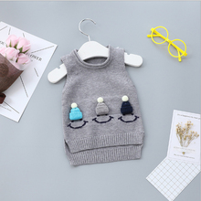 2017 Fashion Autumn Solid Cotton Girls Clothing Sweater Vest Outerwear O-neck Kids Girls Knitwear Casual Children Tops St020(China)