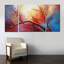 3 Piece Cheap Abstract Modern Wall Painting Red flower Home Decorative Art Picture Paint on Canvas 100% Handmade