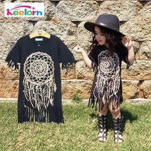 Keelorn Girls Dress 2017 spring summer style children's clothing personality style casual baby black wild fringed Dresses 2-5Y(China)