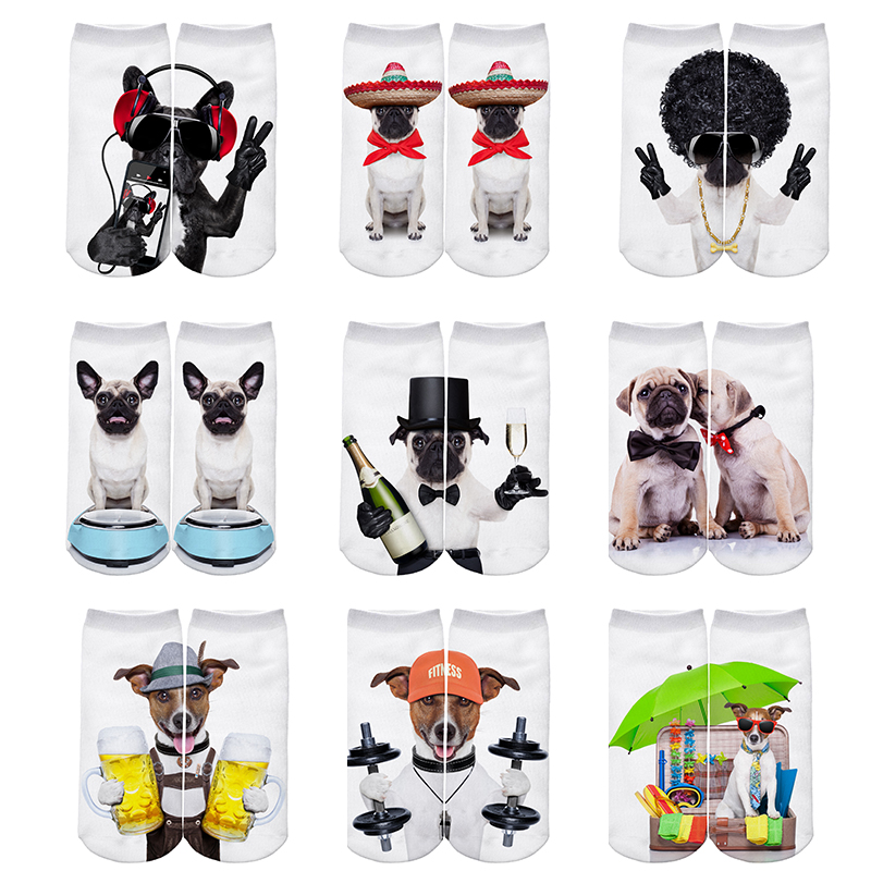 JUMEAUX 4 Pairs Newly Funny 3D Dogs Pug Printed Socks Women Low Cut Ankle Socks for Women Men Unisex 17 3