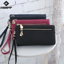 17 High Capacity Fashion Women Wallets Long Dull Polish PU Leather Wallet Female Double Zipper Clutch Coin Purse Ladies Wristlet