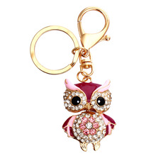 Cute Owl Crystal Key Chains Rings Holder For Women Flower Rhinestone Purse Bag Buckle Pendant For Car Keyrings KeyChains(China)