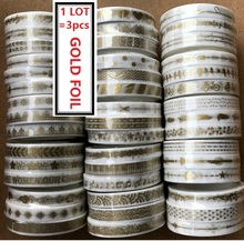1LOT=3Rolls Gold Foil Printing Japanese Washi Tape Flags/Arrow/Feather/split/line pattern Masking Paper Tape Diary Sticker Gift