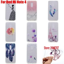 Deluxe Beautiful Soft TPU Clear Transparent Silicone Fundas Coque Case Cover Cove For Xiaomi Redmi Red Mi Note 4 Wind Butterfly