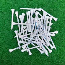 Hot Sale 100pcs 70MM White Wooden golf Ball Tees Blue Printing Golf Tee New(China)