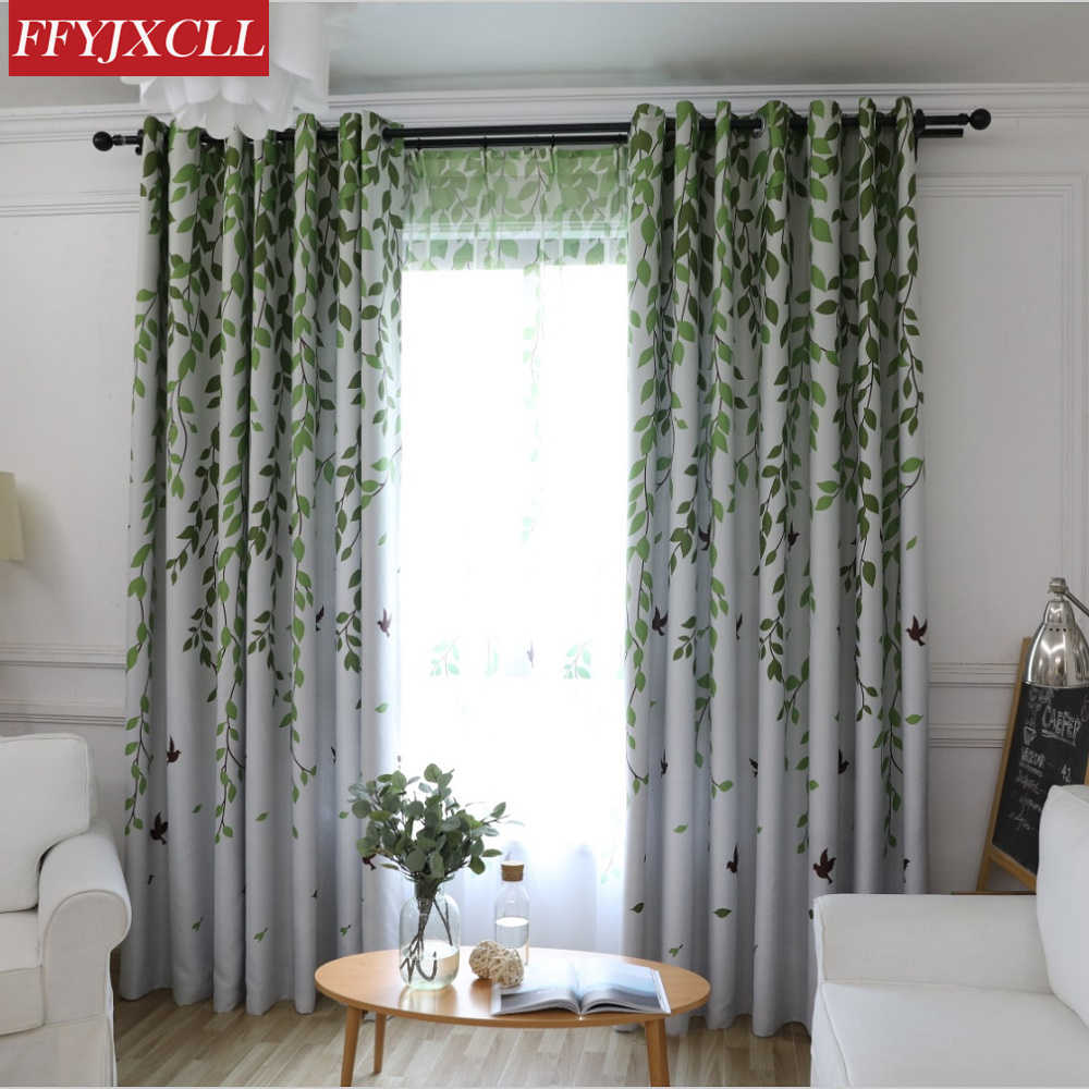 Green Leaves Birds Blackout Curtain For Living Room Printed Drapes Bedroom Kitchen Balcony Pastoral Sheer for Window Decoration