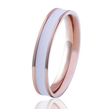Fashion Jewelry Simple Design Size 3 to 11 Enamel Rings Stainless Steel Colour Rose Gold Ring For Woman And Child Anillo Bijoux