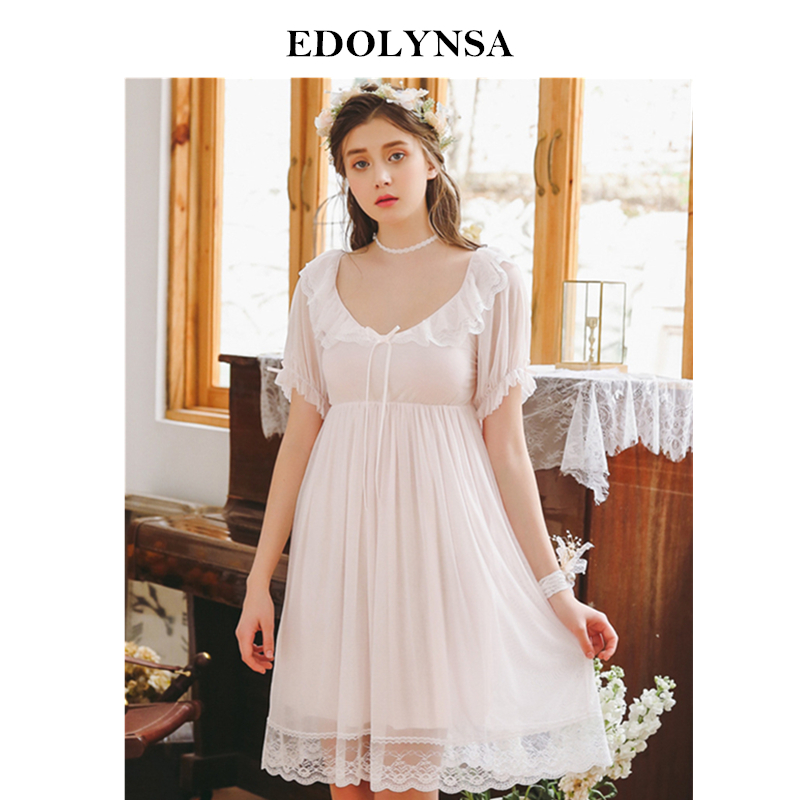 2019 New Arrival Women Cotton Short Sleeve Modal Retro Vintage Lace Princess Beautiful Nightgown Female Palace Sleep Dress H822
