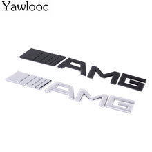 Yawlooc 1 pc/lot 3D Car Styling Metal Aluminum-look Emblem Car 3D Chrome Finish AMG Badge Sticker Interior Exterior Use For Benz