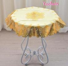 70CM Modern Round gold PVC plastic waterproof tea Table cloth cover Oilcloth mantel tablecloth home Christmas wedding decor(China)