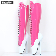 Buy jialuowei 18cm Ultra High Heel Cross-tied Pointed Toe Knee-high BALLET Boots fetish Thin heel ballet boots SM queen boots