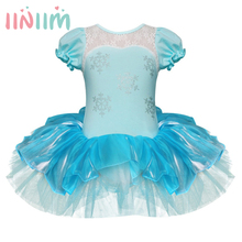 Kids Girls Princess Anna Elsa Ballet Dance Dress Stage Performance Tutu Dress Snow Queen Festival Party Children's Costume