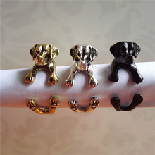 10pcs/lot Antique Silver/Bronze Labrador Retriever Rings Adjustable Animal Dog Breed Perro Rings for Women Wholesale Anels(China)