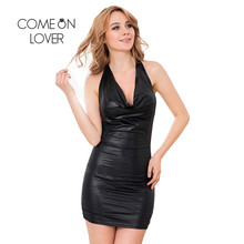 Buy I70140 Comeonlover Back Open Bandage Backless Dress Sex Womens Night Party Club Dresses Back Halter Faux Leather Dress Women