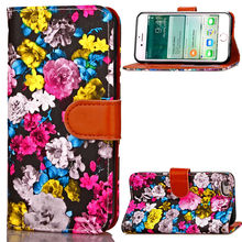 5.5 inch Flower ink Painting Wallet For Apple iPhone 6 6s Plus Case Covers Flip TPU Leather Cases Black Stand Cover iPhone6 plus(China)