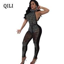 Buy QILI Women Diamond Rhinestone Mesh Jumpsuits Tee Halter Sleeveless Backless Sexy Jumpsuit Nightclub Bodycon Jumpsuits