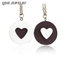 2pcs/set Resin Black Chocolat Cookie Necklace Puzzle Food Design Men Women Best Friend BFF Forever Friendship Lover Gifts(China)