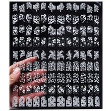 New 3d White Nail Stickers Decals,108pcs/sheet Mix Stylish Design Charm Metallic Fingernails Tips Accessories Decoration Tools(China)