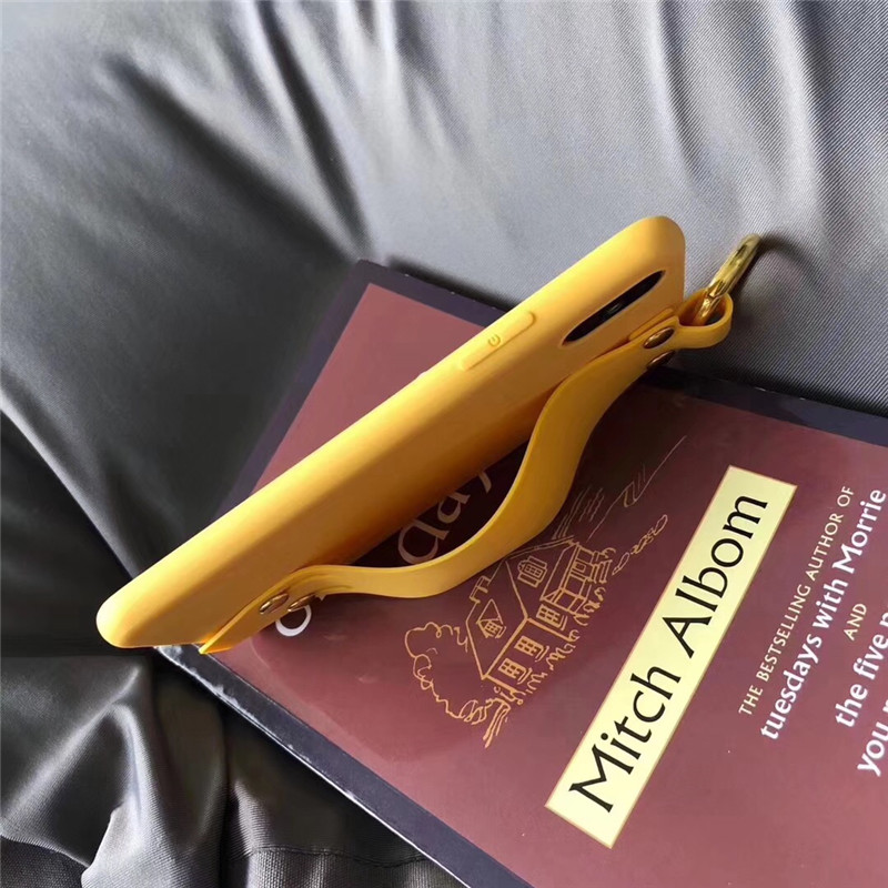 LUDI Vintage Wrist Strap Phone Case for iPhone 7 7Plus Case for iPhone X 6 6s 8 Plus Yellow Purple Black Plain Soft Silicon Capa3