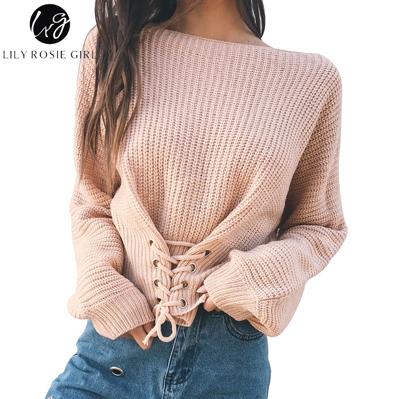 Lily Rosie Girl Black Lace Up Knitted Pullover Sweater Women Elastic Long Sleeve Jumper Casual Autumn Winter Knitting Pullovers(China)