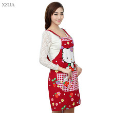 Cute Cartoon Cat Cotton Canvas Apron Kitchen Accessories House Cleaning House Keeping Anti Dust Pinafore For Woman