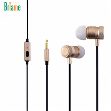 Briame 2017 Metal Headphone With Microphone Stereo Bass Earphone Sport Headpones for iphone 5 6 6s Samsung Huawei Xiaomi Headset
