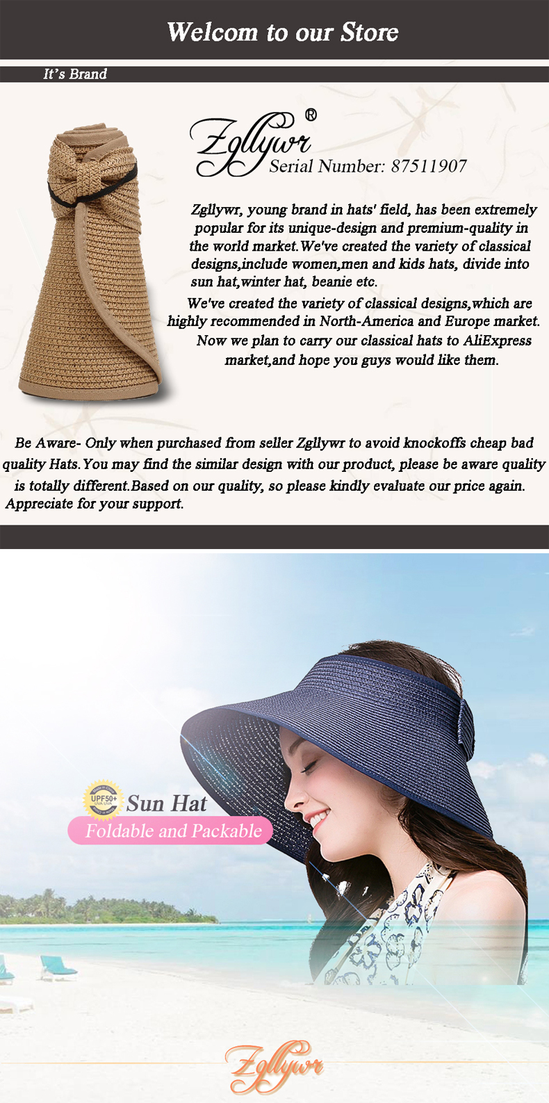 Women/'s Roll Up Striped Ribbed Wide Brim Straw Sun Visor