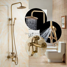 Wholesale and Retail High Quality Bathroom Shower Set Antique Brass Finish with Swivel Faucet Wall Mounted Shower Mixer Tap ZR17