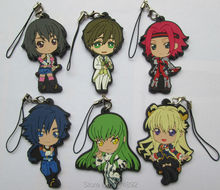 6 pcs/set CODE GEASS Lelouch of the Rebellion figure pendants Lelouch C.C. Kallen Milly keychains phone straps free shipping