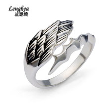 Free shipping male 925 silver opening ring boys fashion personality jewelry thai silver pinky ring feather cool accessories(China)