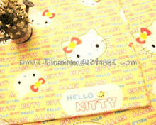 hk509D - 1 Yard Cotton Flannel Fabric - Cartoon Characters, Hello Kitty and Words - Yellow (W105)