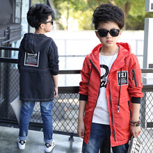 2017 Spring Autumn Children's Garment Loose Outerwear Coat boys hooded Jacket Children Long Windbreaker kids girls clothes J008