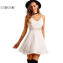 COLROVIE Cute Female 2016 Summer New Style White Spaghetti Strap Backless V Neck Hollow Out Lace Slim and Flare Mini Dress
