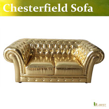 U-BEST new model golden Chesterfield antique sofa,fashion gold loveseat sofa small size department sofa,designer 2 seater sofa