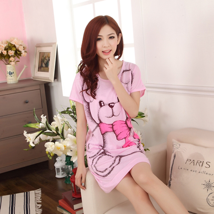 Free Shipping 2016 Women Summer Dress Lovely Bear Printed Nightgown Girls Robes Short-sleeved Ladies' Vestidos Factory Wholesale(China)