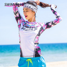 Women Swim Shirts Rash Guard Swimwear Lycra Top Swimsuit UPF 50 UV Surf Board Wetsuit Long Sleeves Quick Drying Beach Summer