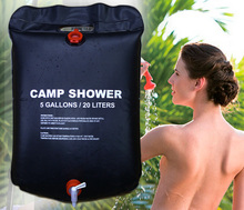 20L / 5 Gallons Solar Energy Heated Camp Shower Bag Utility Black PVC Shower Water Bag For Outdoor Camping Hiking Water Storage
