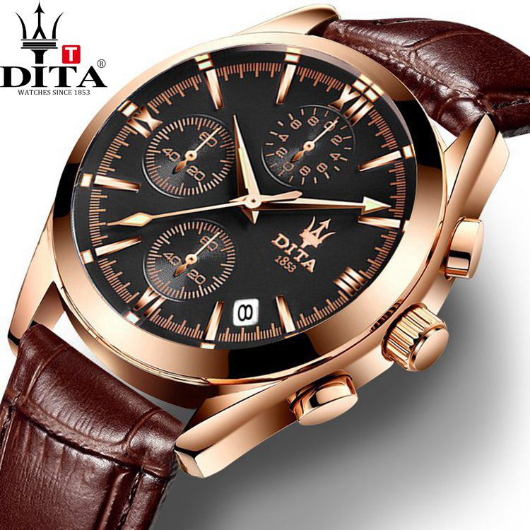 DITA HotSell Mens Unsex  Watch Quartz Chronograph Sport Casual Style Military geniune leather strap relogio masculino Date <br>