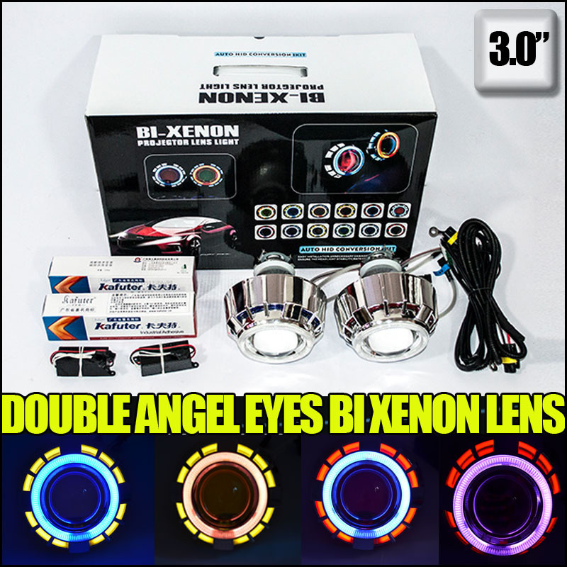 3.0 inch  35W hid bi xenon projector lens kit with double angel eyes and demon eyes for h7 h4 h11 9005 HB4  for auto car light<br><br>Aliexpress