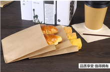 50pcs food grade Kraft paper cake bread paper bags box with Handle bag Sandwich Bread Food takeout take out Bags Party Wedding(China)