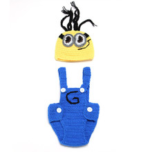 Cotton Pants Cap Photography Baby Minions Style Clothes Accessories Baby Props Full Hand Made Knitted Crochet Toy