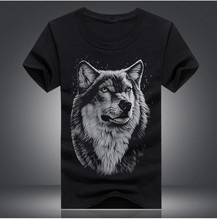 Tee Shirt Sites Men'S Short Sleeve Graphic O-Neck Funny Wolf Tees(China)